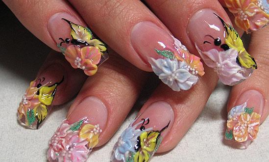 объёмный дизайн ногтей 1
